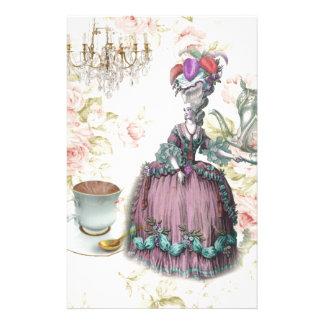 Fiesta del té floral femenina de Marie Antonieta P Papeleria Personalizada