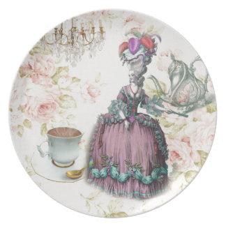 Fiesta del té floral femenina de Marie Antonieta P Plato