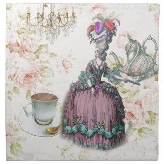 Fiesta del té floral femenina de Marie Antonieta P Servilleta
