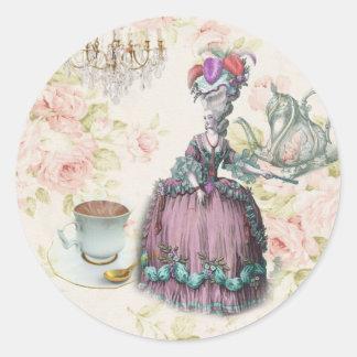 Fiesta del té floral femenina de Marie Antonieta Pegatina Redonda