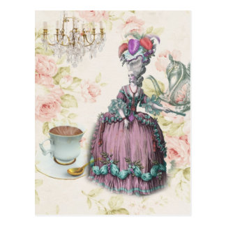 Fiesta del té floral femenina de Marie Antonieta Tarjetas Postales