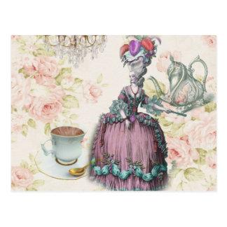Fiesta del té floral femenina de Marie Antonieta Postales