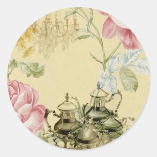 Fiesta del té floral francesa de París de la Pegatina Redonda