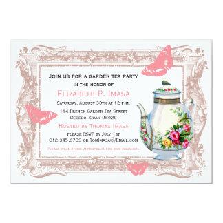 Fiesta del té francesa del jardín invitación 12,7 x 17,8 cm