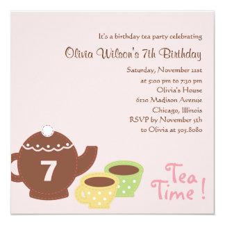 Fiesta del té - invitación del cumpleaños del