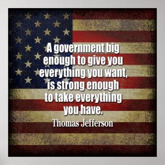 Fiesta del té - Jefferson: Guárdese del gobierno g Póster