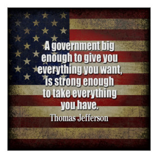Fiesta del té - Jefferson: Guárdese del gobierno Póster