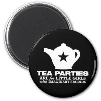 fiesta del té - las fiestas del té están para las  imán redondo 5 cm