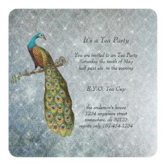 Fiesta del té metálica de plata del pavo real de anuncio personalizado