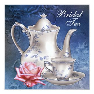 Fiesta del té nupcial azul elegante comunicados personales