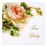 Fiesta del té nupcial color de rosa rosada del vin invitación