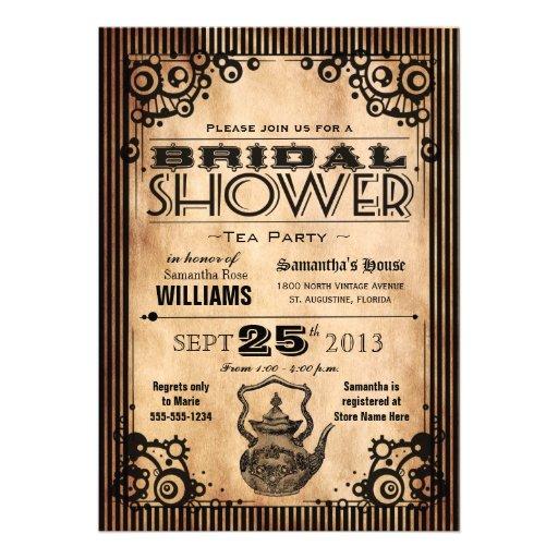 Fiesta del té nupcial de la ducha de la apariencia invitación personalizada