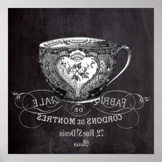 fiesta del té nupcial de la ducha de la pizarra póster
