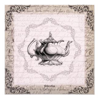 Fiesta del té nupcial de la ducha de la tetera de invitación 13,3 cm x 13,3cm
