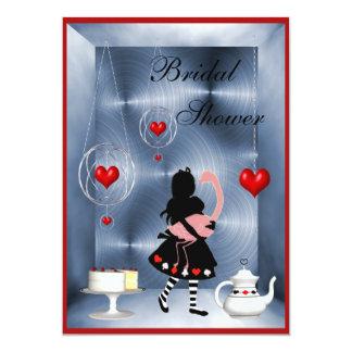 Fiesta del té nupcial de la ducha de los corazones invitación 12,7 x 17,8 cm