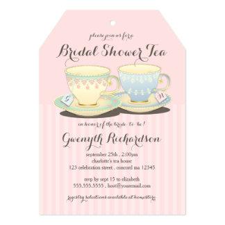 Fiesta del té nupcial de la ducha del dúo elegante invitación 12,7 x 17,8 cm