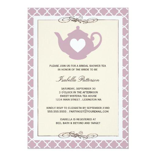Fiesta del té nupcial de la ducha del moreno invitación 12,7 x 17,8 cm