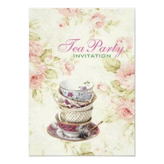 """fiesta del té nupcial del vintage floral color de invitación 5"""" x 7"""""""