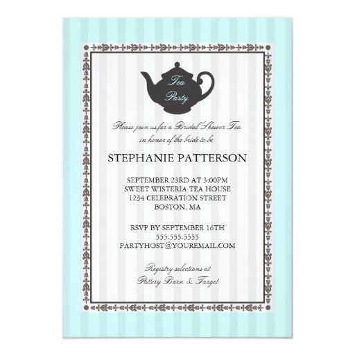 Fiesta del té nupcial elegante de la ducha de la comunicado personal