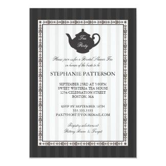 Fiesta del té nupcial elegante de la ducha de la invitación 12,7 x 17,8 cm