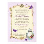 Fiesta del té nupcial francesa del vintage púrpura comunicado personalizado