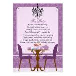 Fiesta del té púrpura del cumpleaños del damasco d invitaciones personalizada