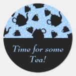 Fiesta del té que cae pegatinas redondas