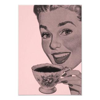 Fiesta del té retra V2 Invitación 8,9 X 12,7 Cm