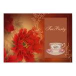 fiesta del té roja de Happines del doble del Invitación 12,7 X 17,8 Cm