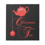 Fiesta del té roja del navidad del cordón libreta para notas