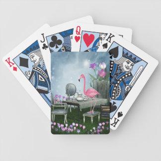 Fiesta del té rosada del flamenco del país de las cartas de juego