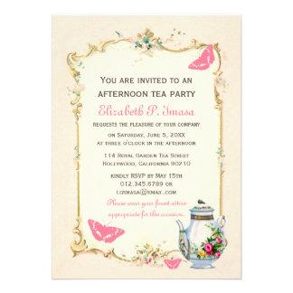 Fiesta del té rosada del francés del vintage comunicado personal