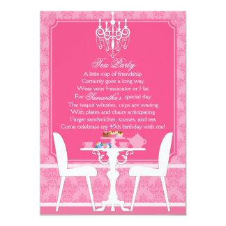 Fiesta del té rosada elegante del cumpleaños del anuncio personalizado