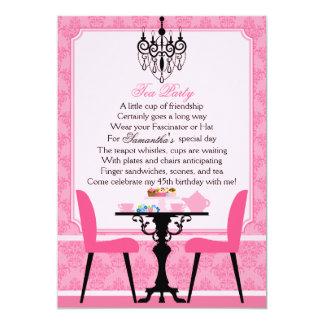 Fiesta del té rosada elegante del cumpleaños del invitacion personalizada