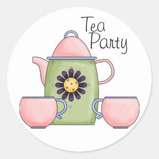 Fiesta del té rosada - modificada para requisitos pegatina redonda