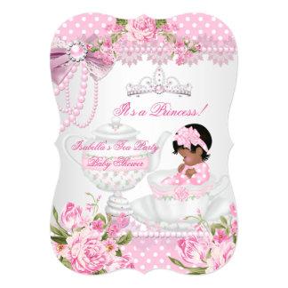 """Fiesta del té subió rosa lindo del chica de la invitación 5"""" x 7"""""""