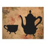 Fiesta del té subió vintage invitaciones personalizada