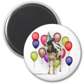 Fiesta del tema de la vaca del cumpleaños imán redondo 5 cm