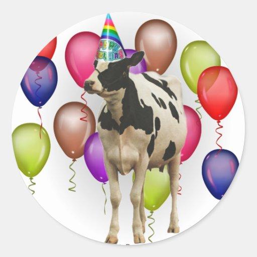 Fiesta del tema de la vaca del cumpleaños pegatina redonda
