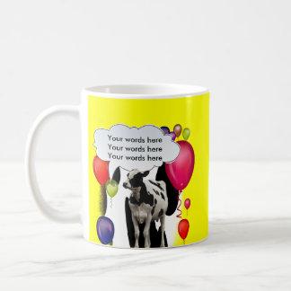 Fiesta del tema de la vaca del cumpleaños taza de café