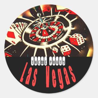 Fiesta del tema de Las Vegas Pegatinas Redondas