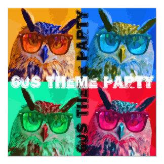 """Fiesta del tema del búho 60s del arte pop invitación 5.25"""" x 5.25"""""""