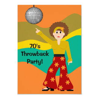 """fiesta del tema del disco de los años 70 invitación 5"""" x 7"""""""