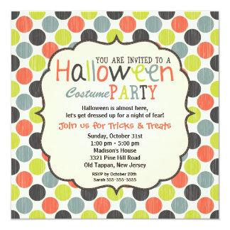 """Fiesta del traje de Halloween colorido y diversión Invitación 5.25"""" X 5.25"""""""