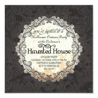"""Fiesta del traje de Halloween de la casa encantada Invitación 5.25"""" X 5.25"""""""