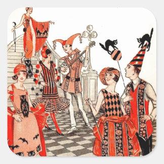 fiesta del traje de Halloween de los años 20 Pegatina Cuadrada