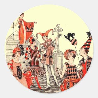 fiesta del traje de Halloween de los años 20 Pegatina Redonda