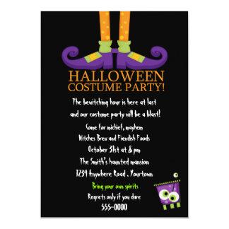 """Fiesta del traje de Halloween de los pies de las Invitación 5"""" X 7"""""""