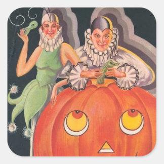 Fiesta del traje de Halloween del vintage Pegatina Cuadrada