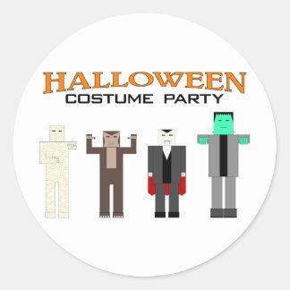 Fiesta del traje de Halloween Pegatina Redonda